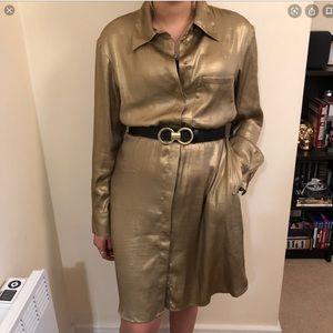 Zara Metallic Gold Dress Large